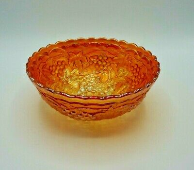 Vintage - Mid Century Carnival Glass Amber/orange Bowl. Perfect Condition • 3.95£