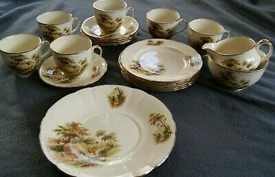 Alfred Meakin England Vintage 6-Place Tea Set - Countryside Pattern & Gold Trim • 19.99£