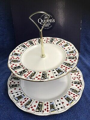 Queens China CUT FOR COFFEE 2 Tier Cake Stand • 60£
