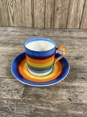 Vintage Grays Pottery Multi Coloured Banded Cup & Saucer. • 24.99£