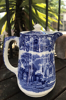 Vintage 1930s G Jones & Sons Abbey 1790 Blue And White Coffee Pot • 20£
