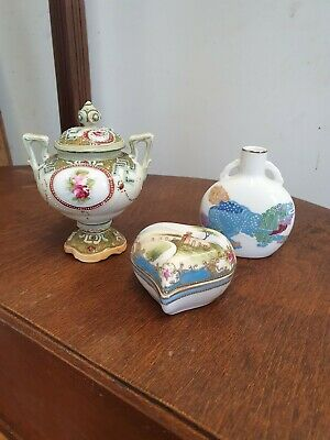 3 Pieces Of Noritake Heart Trincket Lidded Vase Foo Dog Vase • 4.99£