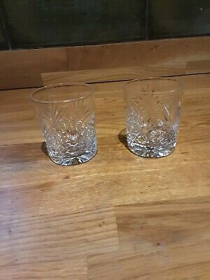 Pair Small Thomas Webb St. Andrews Cut Glass Whisky Tumblers • 10£