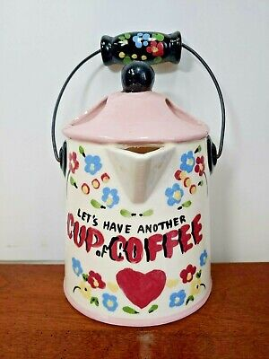 Beautiful Let's Have Another Cup Of Coffee Kettle Wall Pocket - Cleminson's Cali • 18.42£
