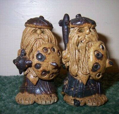 A Pair (2) Of Craw Studio Pottery Medieval Scottish Soldiers Figurine • 40£