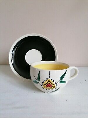 Retro Wade/Royal Victoria Pottery Abstract Floral Cup & Saucer  • 4.99£