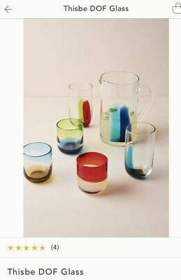 Anthropologie THISBE DOF GLASS  SET OF 4 LIME / BLUE , PINK /POPPY  NEW • 57.05£