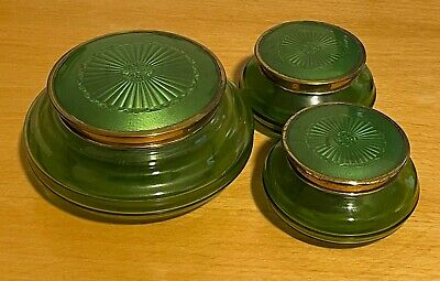 Vintage Green Glass Dressing Table Set With Candle Stick Holders • 0.99£