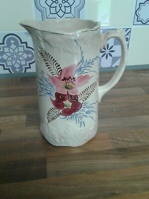 Tall Beige  Pottery Jug With Hand Painted Pink Lustre  Lily  Flower  Pattern • 3.50£