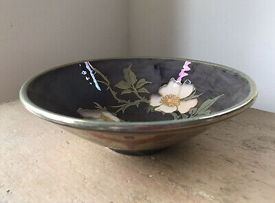 Vintage Jonathan Chiswell Jones Lustre Studio / Art Pottery Bowl With Pink Rose  • 46£