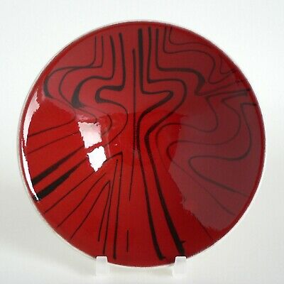 Poole Pottery Delphis 5.25  Bowl (shape No 55) Red Black Abstract 1960's Mcm Fun • 35£