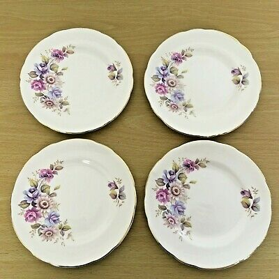 Set Of 4 Royal Sutherland Pink And Purple Flowers Side Plates • 10£