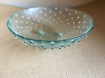 Vintage Green Tinted Glass Bobble Effect Bowl • 5£