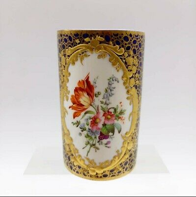 Meissen Porcelain Spill Vase With Flowers And Gilt Frame • 36£