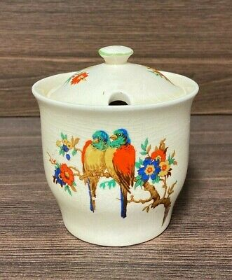 Vintage Royal Staffordshire Preserve Pot Decorated With Parrots • 25£