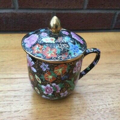 Pretty floral Hand Painted Chinese Tea Mug With Handle And Lid • 4.99£