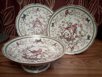 Vintage Victorian? China Footed Tazza/cake Stand And 2side Plates With Number • 14.50£