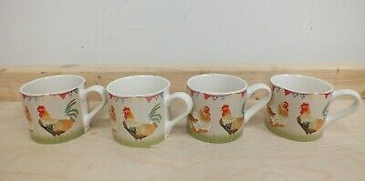 Laura Ashley Country Fair Chicken Mugs X 4 Rooster Hen Coffee Cans (Mar) • 14.39£