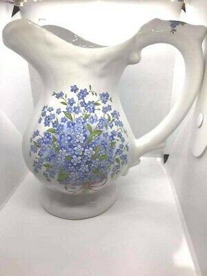 Forget Me Nots - Ceramic Pitcher Jug - 8in Tall - Made In England - So Pretty! • 10£