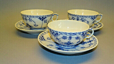 Royal Copenhagen Blue Fluted Cups And Saucers X3 Cups A/f Tea Set Dinner Service • 19.99£