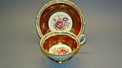 Paragon Ruby Red Rose Gold Cup And Saucer 4750 Art Deco Tea Set Dinner Service • 9.50£
