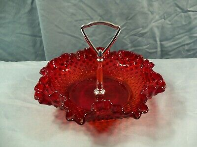 Fenton Ruby Red Glass Hobnail Metal Handled Bonbon Candy Dish 8  Wide • 9.14£
