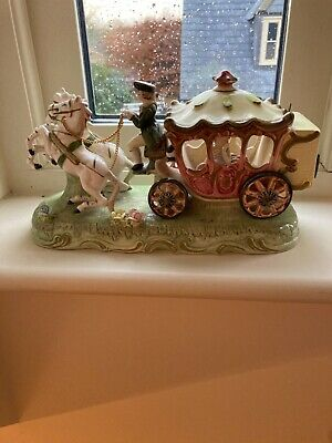 German Porcelain Musical Carriage Coach Princess 4 Horses Statue Group • 40£