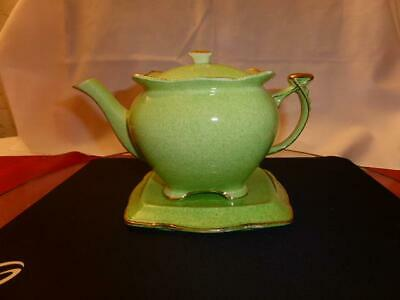 Vintage Royal Winton Teapot On Stand - Green/gold • 1.49£