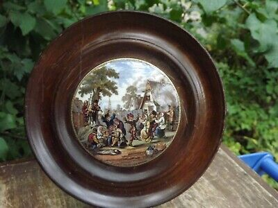 Antique English Pot Lid Titled  The Village Wedding  19th Century Wooden Frame • 24.99£