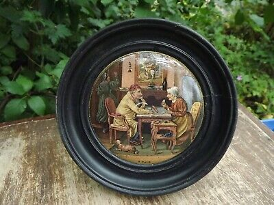 Antique English Pot Lid Titled  A Pair  19th Century In Wooden Frame • 24.99£