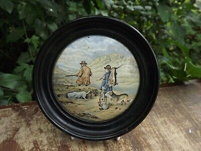 Antique English Pot Lid Titled The Sportsman 19th Century In Wooden Frame • 24.99£