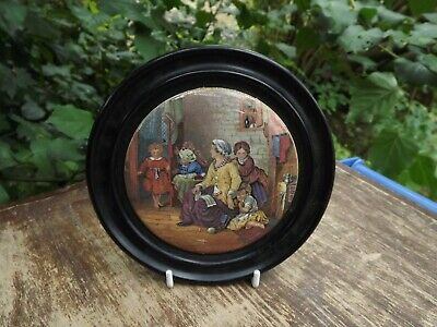 Antique English Pot Lid Titled  Hide And Seek  19th Century In Wooden Frame • 24.99£