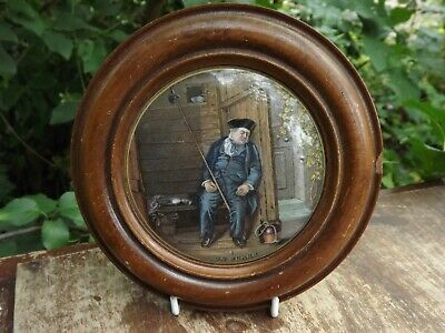 Antique English Pot Lid Titled   On Guard  19th Century Wooden Frame • 29.99£