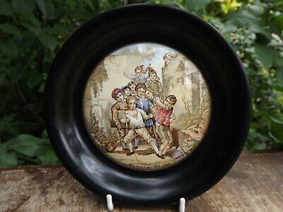 Antique English Pot Lid Titled   The Wol And The Lamb  19th Century Wooden Frame • 29.99£
