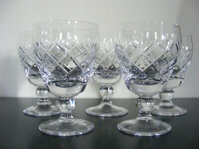 5 X WHITEFRIARS Crystal Glass - GARLAND Cut - Wine Glasses - 4 1/2 Inches • 38.50£