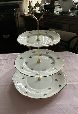 Vintage Colclough Bone China 3 Tier Cake Stand Ditsy Rose • 16.99£