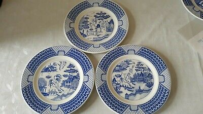 3 Gladstone Pottery Museum Willow Pattern Plates • 30£