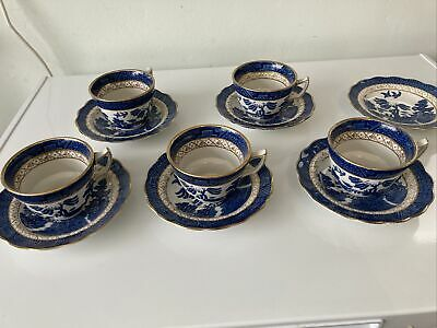 5 X Tea Cups And Saucers Booths Real Old Willow Pattern A8025 • 20£