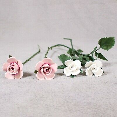 4x Rare Vintage Aynsley China Decorative Pink & White Roses Flowers With Stems • 44.99£