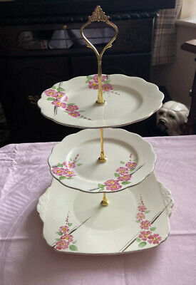 Pretty Vintage 3 Tier Matching Cake Stand Pink Flowers • 12.99£