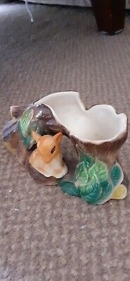Eastgate Withernsea Pottery Fauna Posy Vase With Fawn Sitting Under A Tree • 5£