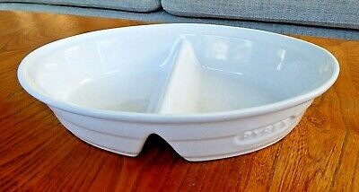 Vintage Style White Oval PYREX Divided Stoneware Casserole/Serving Dish. • 5.49£
