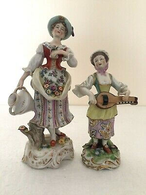 Naples Capodimonte Figure Lady With Water Jug Plus Chelsea Type Musician Figure  • 19.99£