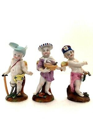 Dresden Porcelain Meissen Style Superb Rare Set Of Three Cupids In Disguise • 79.99£