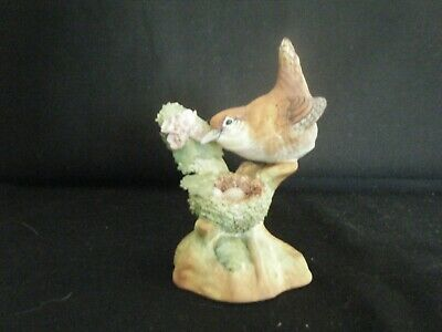 Crown Staffordshire Signed JT Jones Ceramic Wren 56 With Nest & Eggs • 12£