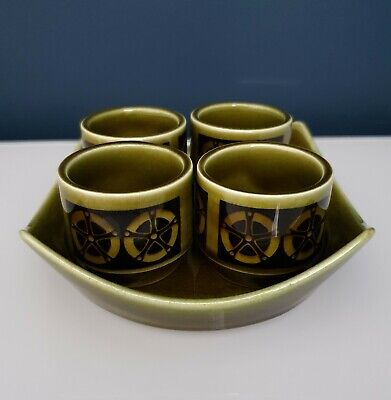 Vintage Hornsea Pottery  Gourmet Green 4 Egg Cups Complete With Original Stand • 20£