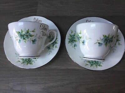 Hm Royal Sutherland China Vintage Siver Wedding Cups Saucers X 2 Afternoon Tea • 5.99£