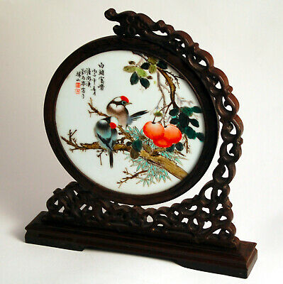 Porcelain Plaque, Republic Period, Birds And Peaches, Signed Liu Yucen • 47£