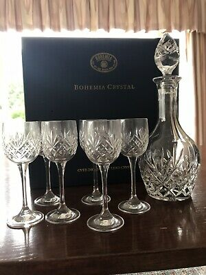 Bohemian Crystal Decanter And 6 Wine Glasses (Boxed, Unused) • 50£