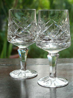 TYRONE Crystal - O'NEILL Cut - Wine Glass Set Of 2 Vintage Made In Ireland • 35£